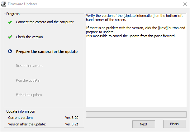 Updating sony a6000 firmware to 3.21 3