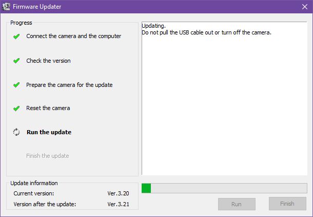 Updating sony a6000 firmware to 3.21 6